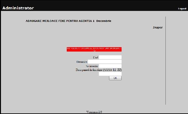 Formular de adaugare mijloace fixe al aplicatiei pentru evidenta mijloacelor fixe si a obiectelor de inventar