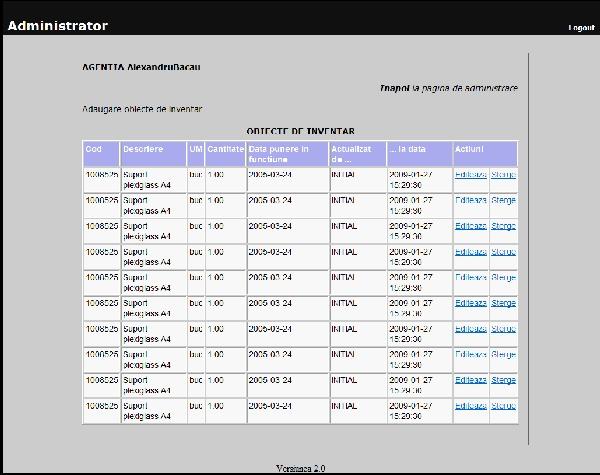 Vizualizare obiecte de inventar de catre administratorii aplicatiei pentru evidenta mijloacelor fixe si a obiectelor de inventar