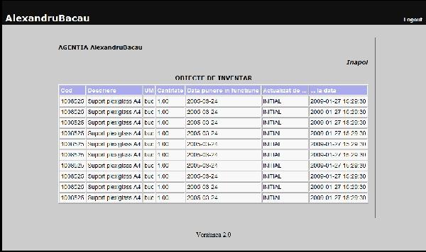 Vizualizare obiecte de inventar de catre un utilizator obisnuit al aplicatiei pentru evidenta mijloacelor fixe si a obiectelor de inventar