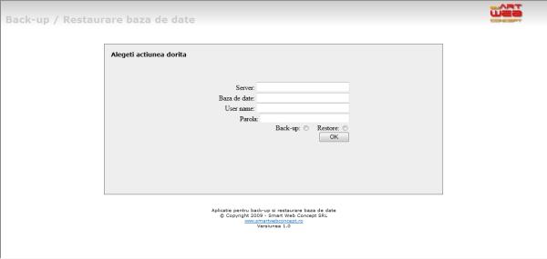 Interfata aplicatie software pentru realizare backup si restaurare baze de date asociate unui website