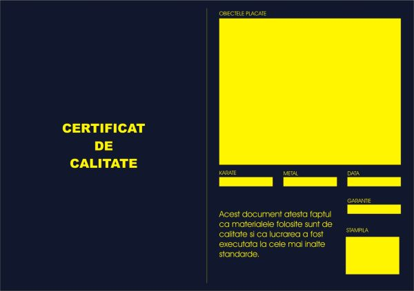 Certificat de calitate placari cu aur - interior