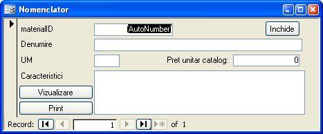 Aplicatie software pentru gestionarea activitatii unei firme mici de productie de tamplarie din pvc si aluminiu - formular nomenclator repere