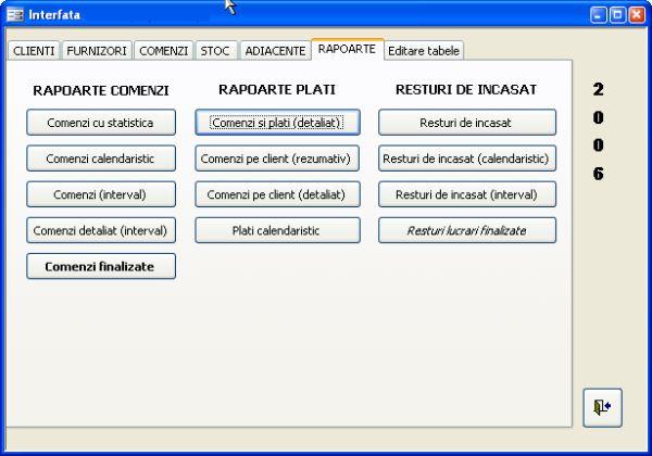 Aplicatie software pentru gestionarea activitatii unei firme mici de productie de tamplarie din pvc si aluminiu - rapoarte